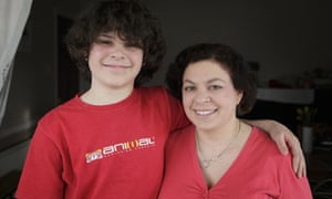 Claire Bell with her son, Jacob, a diabetic