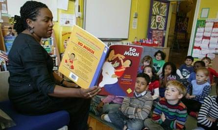 Teacher reads to infant school class