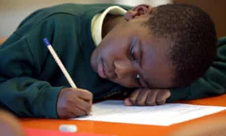Primary pupil writes