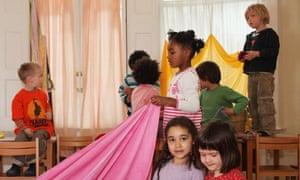 Children enjoy the kindergarten at the Steiner school in Blackheath, London