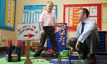 Freddie Buckner at Freddies school with his headteacher.