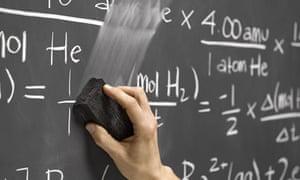Hand erasing maths equations on classroom blackboard