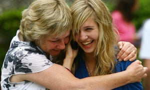 GCSE results: Katie Siegle is congratulated on 7 A*'s and 3 A's by her mother Philippa