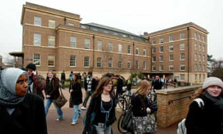 Students on campus at Leicester University