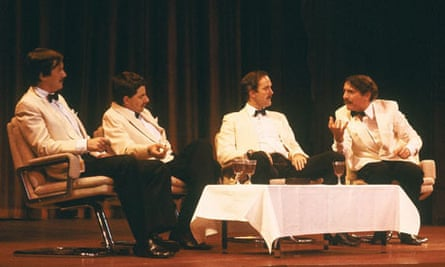 The Monty Python team try to outdo each other in the Four Yorkshiremen sketch