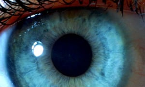 A close up of the iris of a blue eye