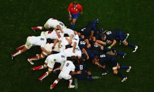 A scrum between England and France during a World Cup match
