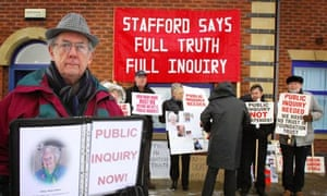 Relatives of people who died at Stafford General hospital during a demonstration