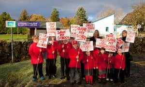 Nearly all the pupils of Lochdonhead primary school protest against its planned closure