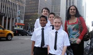 Priyan Mistry, Declan O'Reilly, Javier Segado Marsh, Thomas Bingham and their teacher Rahila Hussein