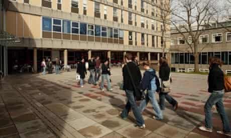 Students on the campus at the University of the West of England, Bristol.