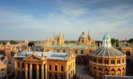 A view over Oxford's spires with Sheldonian Theatre on the right.