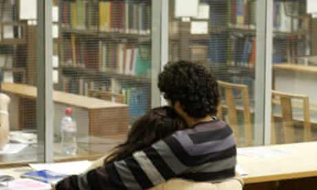 Student romance in library