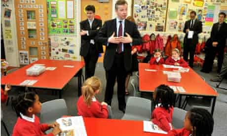 The education secretary, Michael Gove, talks to pupils at Cuckoo Hall primary in Edmonton, London