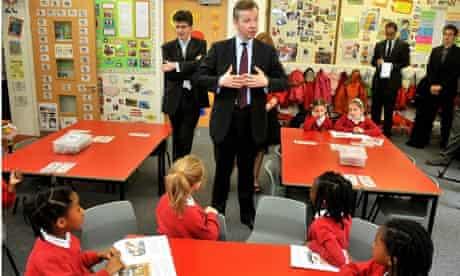 The education secretary, Michael Gove, talks to pupils at Cuckoo Hall primary in Edmonton, London