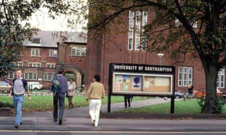 Students on campus at the University of Southampton