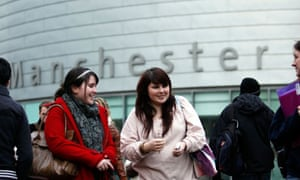 Students on the campus of Manchester University