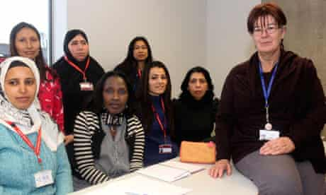 Esol students at City and Islington College with Elizabeth Knight