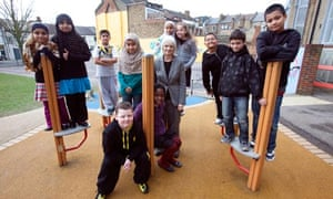 Angela Piddock, head of Wilberforce primary school, with children who are on the school council
