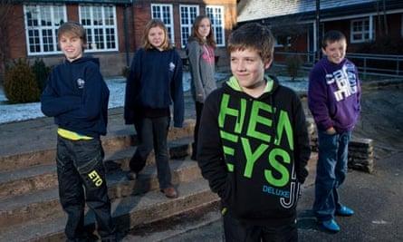 Pupils at Anthony Gell school in Wirksworth, Derbyshire, where pupils don't wear uniform