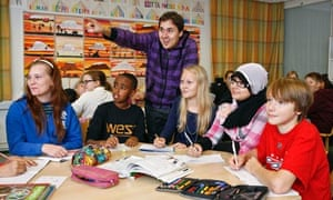 Laakavuori pupils (from left) Ida, Abdullah, Johanna, Jenna and Eppu with teacher Riku Viitanen
