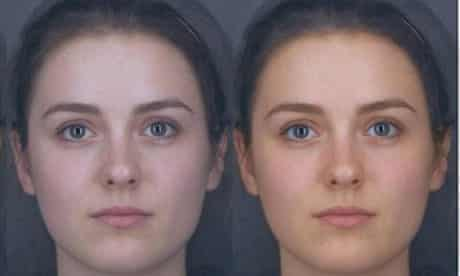 The two faces shows the difference between the woman's natural colour and the effect of carotenoids