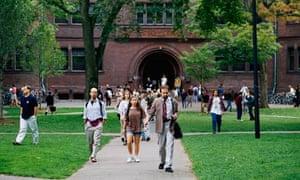 Harvard students leaving Sever Hall