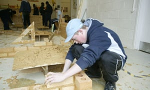 Pupils learn brick-laying and building at Lewisham College's Deptford campus, south London