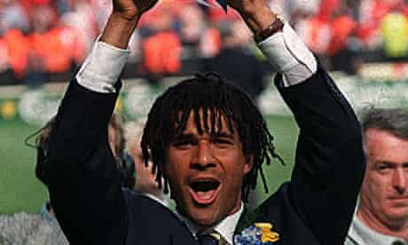 Ruud Gullit, Chelsea's then player manager, celebrates winning the FA cup in May 1997