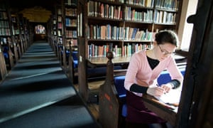 A student in Corpus Christi college library at Oxford