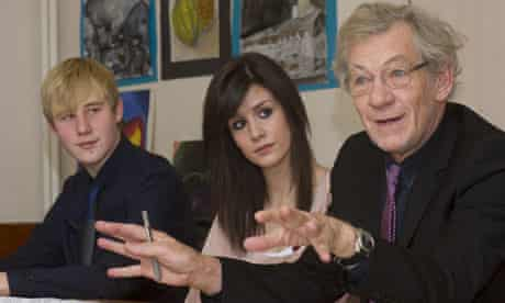 Sir Ian McKellen on a visit to a secondary school on behalf of Stonewall