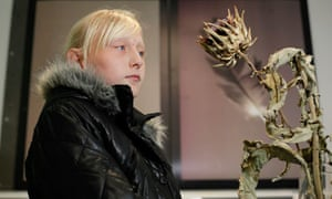 Nottingham University Samworth academy pupil Shannon Clift checks out the African Voodoo lily
