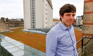 Grant Anderson, environmental officer at Nottingham Trent University, on the 'eco' roof.