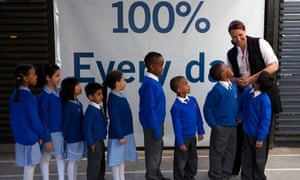 Pupils of King Solomon academy in north London with the primary headteacher, Venessa Willms
