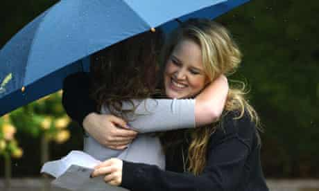 Pupils at Badminton School get their A-level results