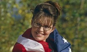Sarah Palin draped in the American flag