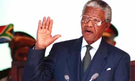 South African President Nelson Mandela during his inauguration in 1994