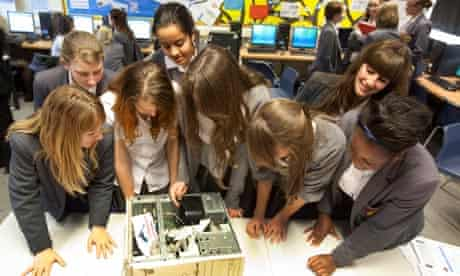 Pupils at Townley Grammar school take apart a computer during an ICT lesson