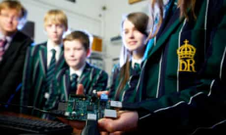 Pupils at The King's School, Chester, check out a Raspberry Pi computer