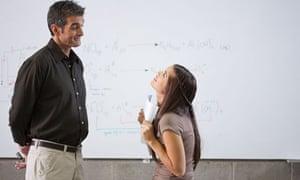 Student begs teacher for good marks