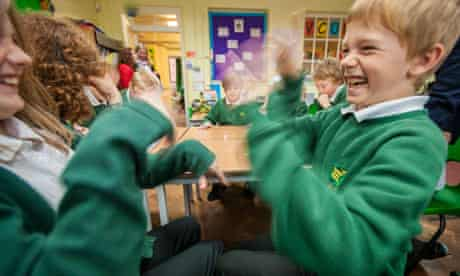 Year 5 children at Cheddar Grove primary school play the body image game.