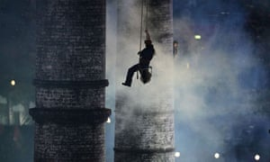 Huge chimneys symbolise the industrial revolution during the opening ceremony of the London Games