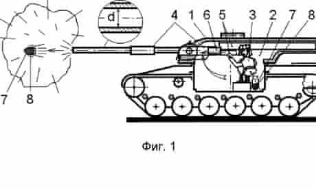 A drawing explaining Aleksandr Georgievich Semenov's patented weapon system