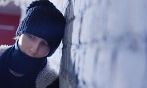 Sad student in snow