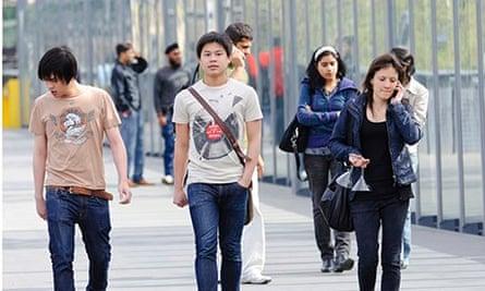 international school students walking