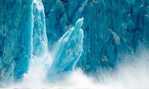 icebergs calving from glacier in alaska
