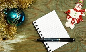 notebook and christmas decorations