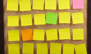 Colourful Notes On Cork Board