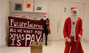 Christmas interns protesting in Serpentine Gallery