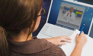 Student doing online class, mooc